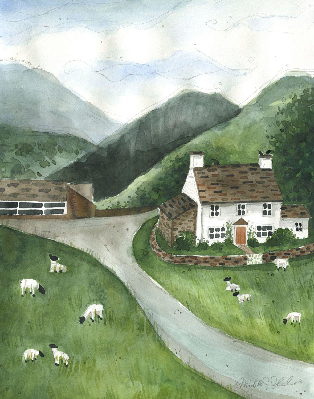 Irish farm landscape with white house, watercolor print
