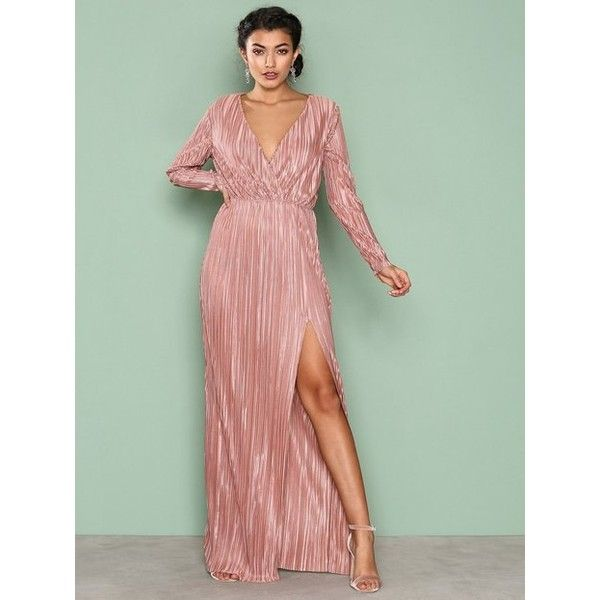Nly Eve Pleated Long Sleeve Gown (500 SEK) ❤ liked on Polyvore ...