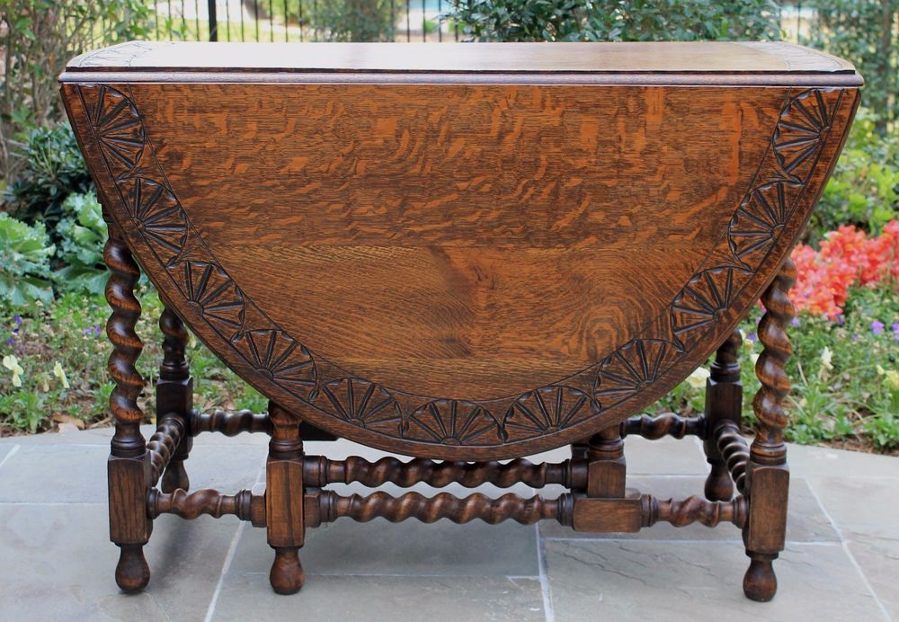 Antique English Barley Twist Large Drop Leaf Sofa Or Breakfast Table Carved Top Englishbarleytwist Drop Leaf Table Vintage Drop Leaf Table Leaf Table
