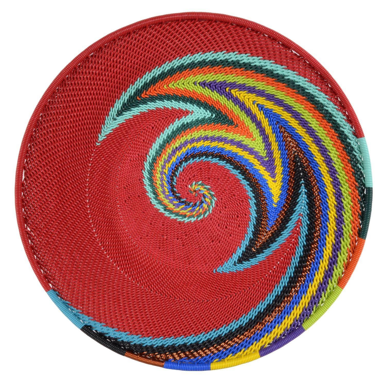 Fair Trade Zulu Telephone Wire 8-inch Platter Basket, Red Rainbow