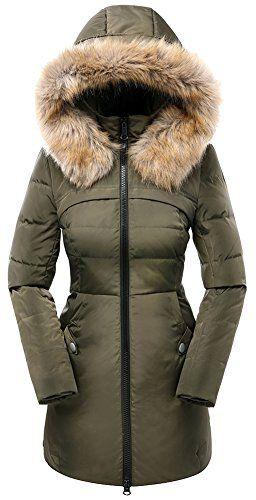 81eca4562a8 Valuker Women's Down Coat with Hood 90% Down Parka Fur Winter Jacket ...