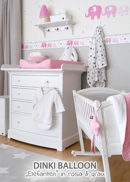 Babyzimmer Grau Rosa dinki balloon babyzimmer elefanten rosa grau bei fantasyroom