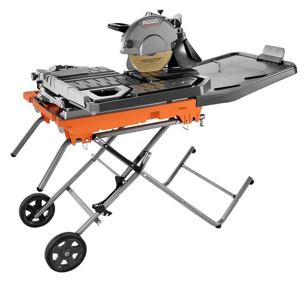 Ridgid 10 In Wet Tile Saw With Stand R4092 The Home Depot Tile Saw Aluminum Decking Locking Flooring