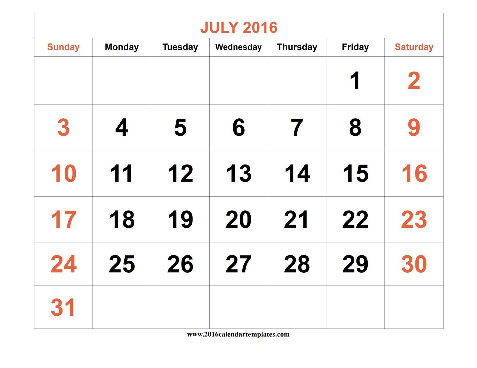 June And July 2016 Calendar Excel Calendar Template Calendar