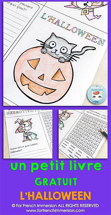 free french halloween mini book print and go activity for your french classroom free french. Black Bedroom Furniture Sets. Home Design Ideas