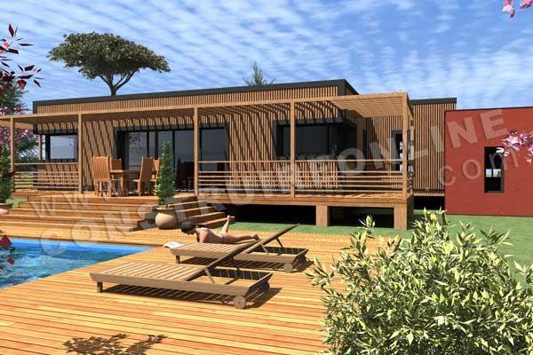 Plan de maison contemporaine bois pilotis SAPELLI vue terrasse2