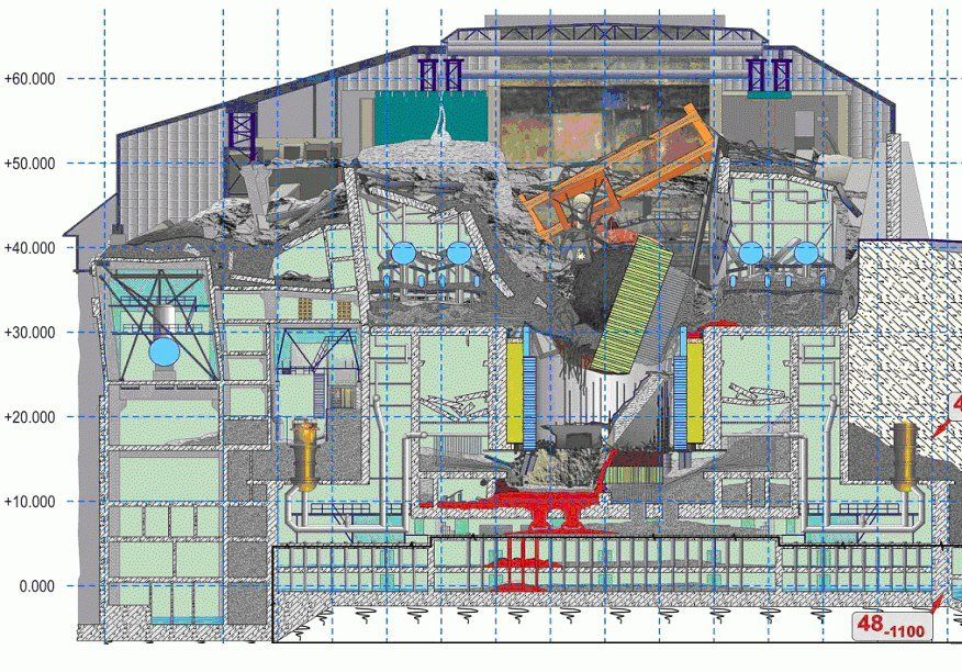 Cross section of the sarcophagus over reactor 4 of the chernobyl cross section of the sarcophagus over reactor 4 of the chernobyl nuclear power plant ccuart Images
