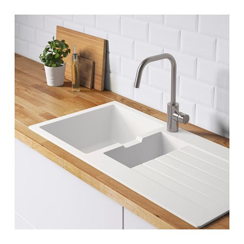 Hallviken Inset Sink 1 Bowl W Drainboard White Quartz Composite Ikea Inset Sink Ceramic Kitchen Sinks Sink
