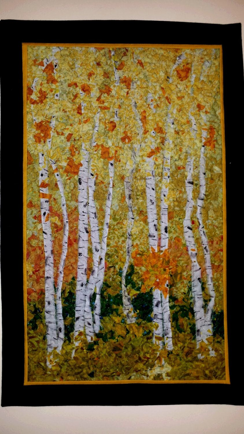 Wall Hanging, Confetti Quilt, Birch Trees, Fall Quilt, Art Quilt, Fabric