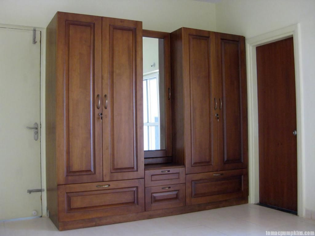 exciting bedroom design with dark brown wooden wardrobe and