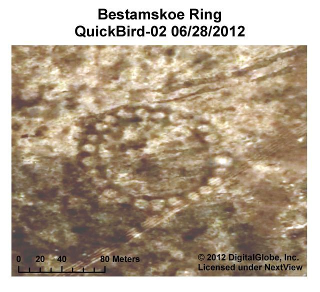 Bestamskoe Ring.Steppe Geoglyphs—were first discovered on Google Earth by Dmitriy Dey, an amateur archaeologist, in 2007. Since then, Dey has found about 260 of the land designs—which resemble crop circles, but are much stranger. Archaeologists don't know what they are or who built them, but they estimate that the oldest is 8,000 years old.