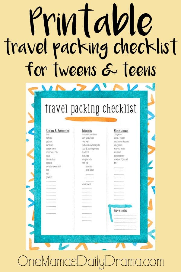 printable travel packing checklist for tweens teens traveling