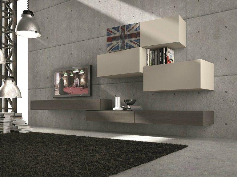 parete attrezzata componibile fissata a muro con porta tv inclinart