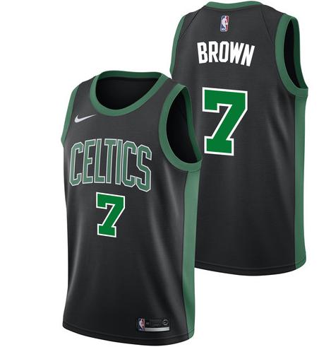 Men Celtics 7 Jaylen Brown Jersey Black Boston Celtics City Edition