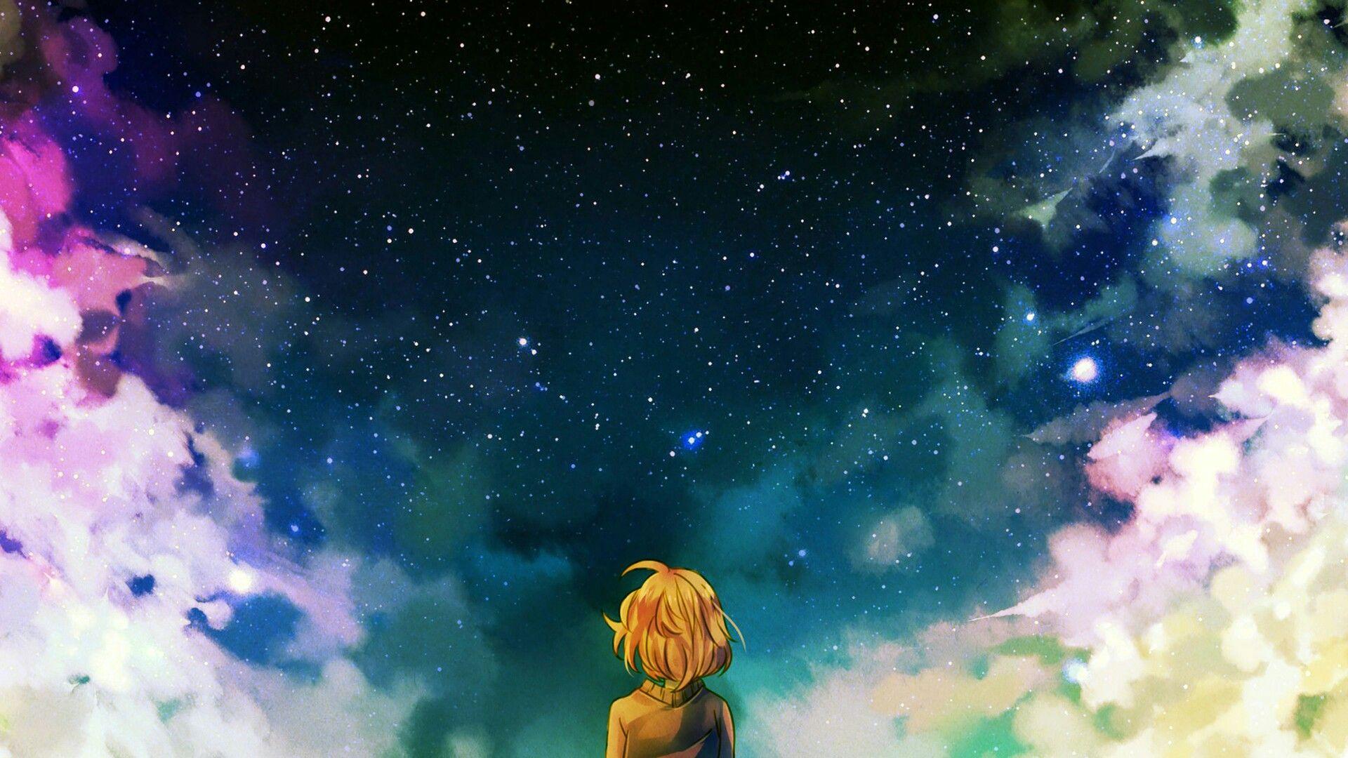 Girls ⊙ Sky ⊙ Wallpapers animegirl animekawaii Kawaii