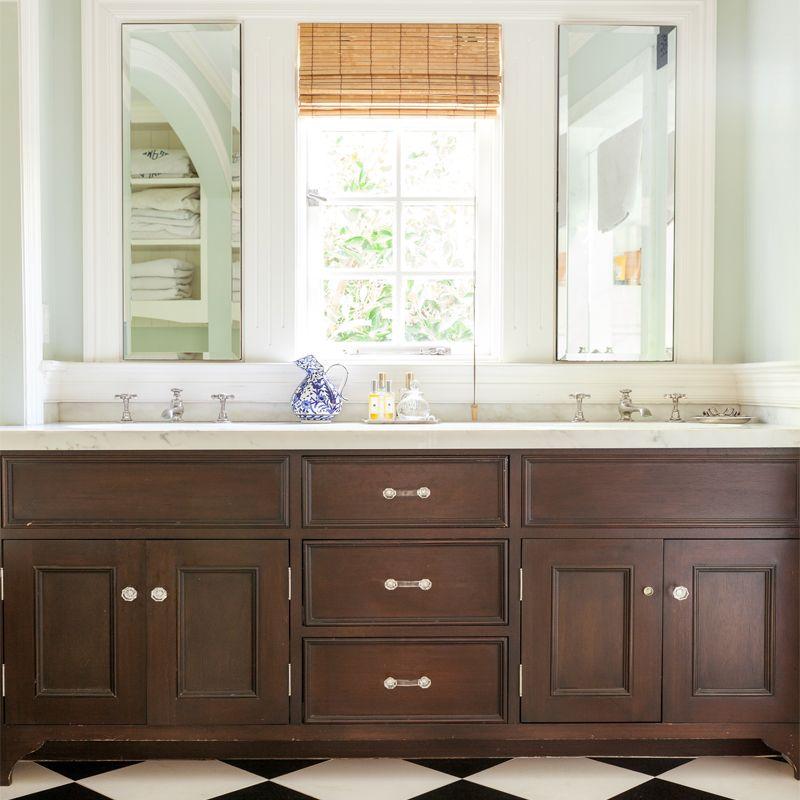 wood vanity black white tile floor  marlien rentmeester