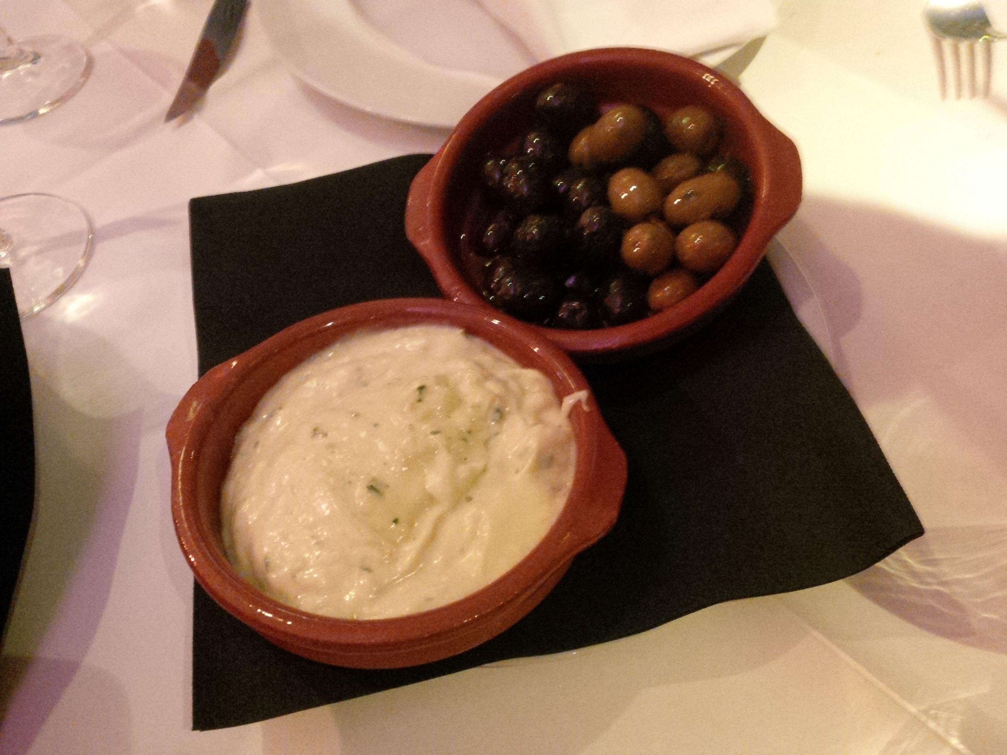 Ajoli with olives and bread @ Restaurant Caramba Especial