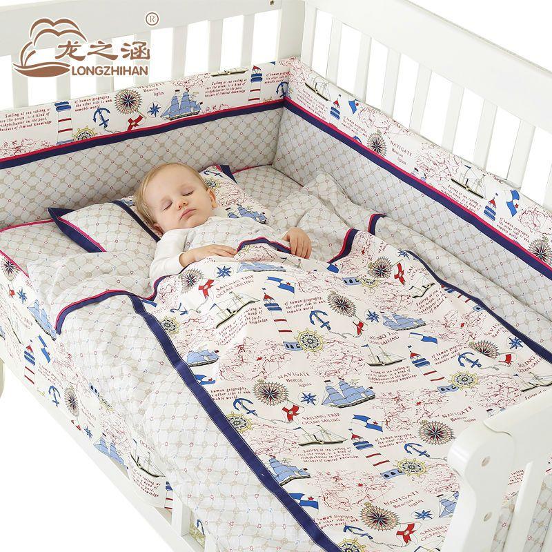 7pcs Baby Bedding Set Cotton Newborn Baby Bumper Crib Cartoon Bed Set Unisex Cot Sets Bedding Detachable Sheet Ropa De Cama De Bebe Juego De Cama Ropa De Cama