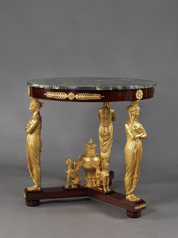 A Fine Empire Style Gilt Bronze And Mahogany Gueridon Antiques
