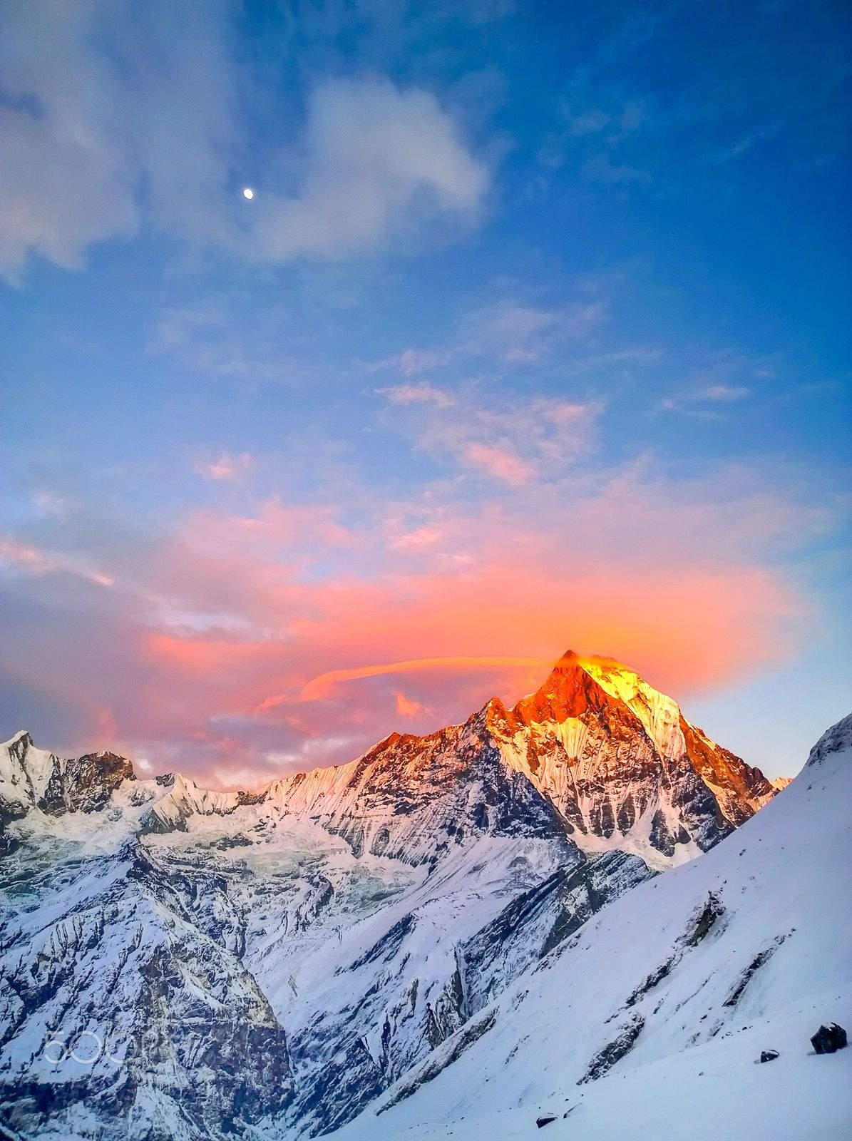 Sunset at Mt. Annapurna, Narchyang, Nepal by HUA QIAO Travel Gurus - Follow for more Nature Photographies!