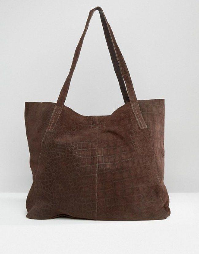 db36514ab7 ASOS Suede Embossed Croc Shopper Bag Chocolate Fashion, Shopper Bag, Crocs,  Emboss,