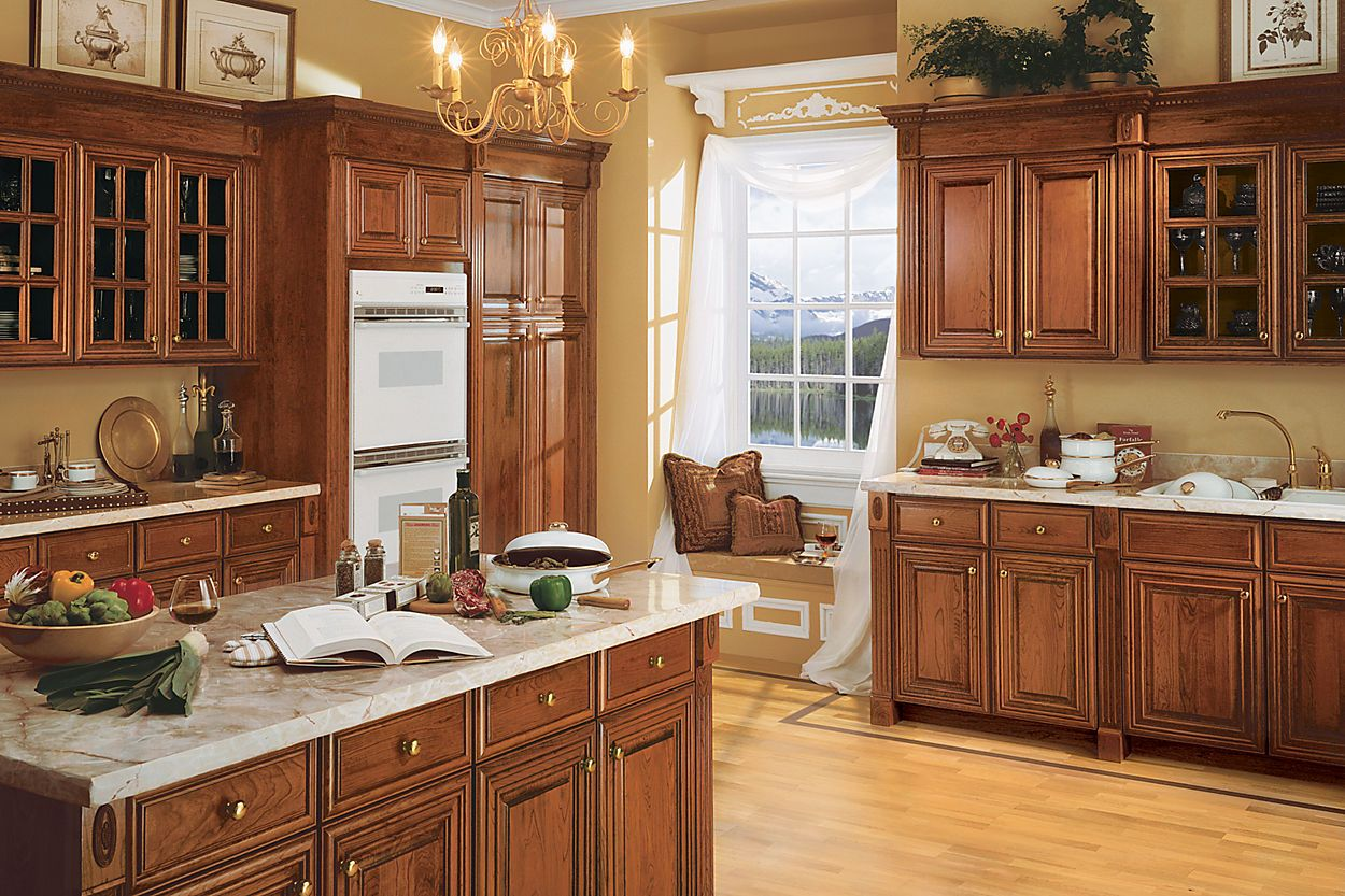 Schuler Cabinetry Savannah Chery Pecan Above Kitchen Cabinets Kitchen Remodel Home Kitchens