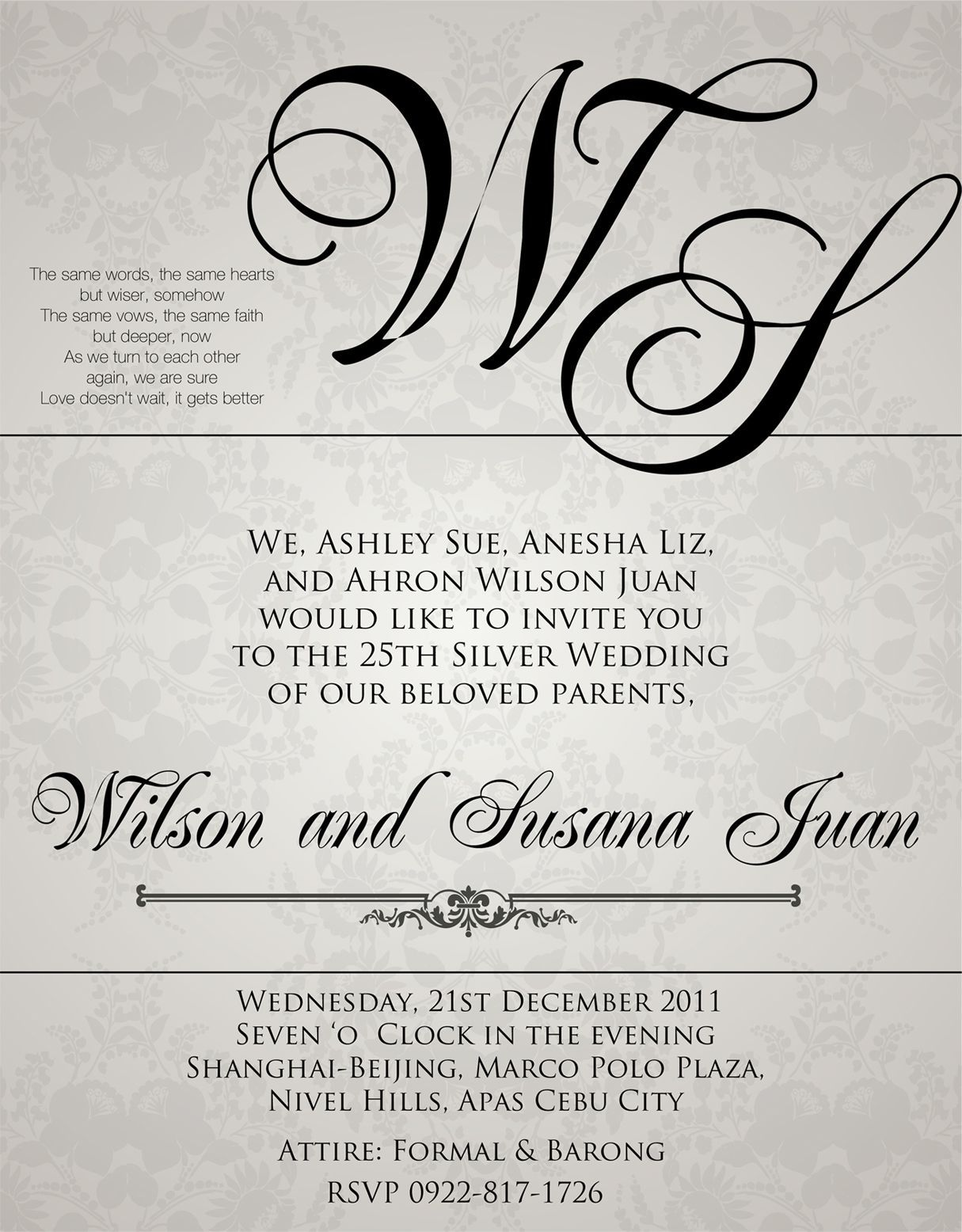 Sample wedding invitation wording in the philippines for Wedding invitations samples philippines