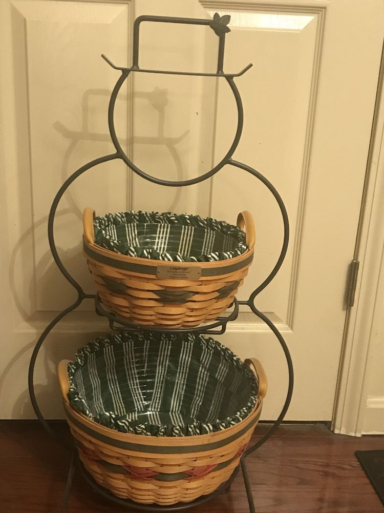 2019 Longaberger Christmas Basket Longaberger 1999 Snowman Wrought Iron Two Christmas Baskets