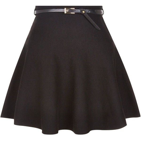 New Look Black Belted Skater Skirt (870 INR) ❤ liked on Polyvore featuring skirts, saias, black, belted skirt, circle skirt, skater skirt and flared skirt