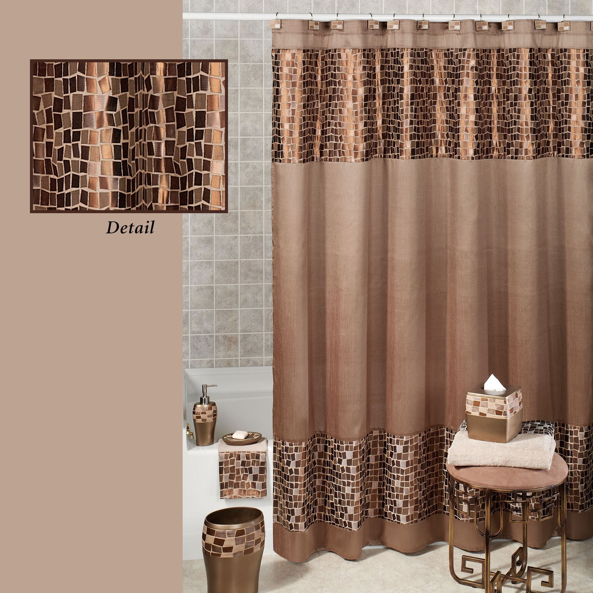 Bronze Color Curtains With White Decorations Bronze Color Curtains Brown Shower Curtain Bathroom Curtain Set Fabric Shower Curtains