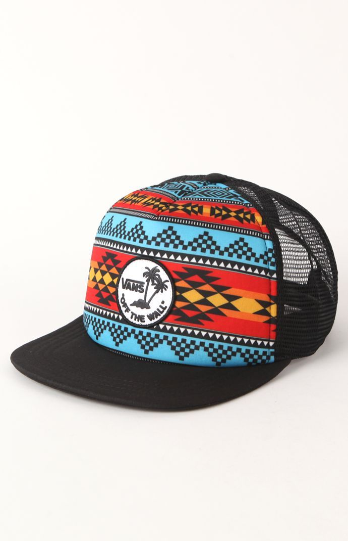 d39711c4a58 Vans Navajo Palm Trucker Hat Flat Bill Hats