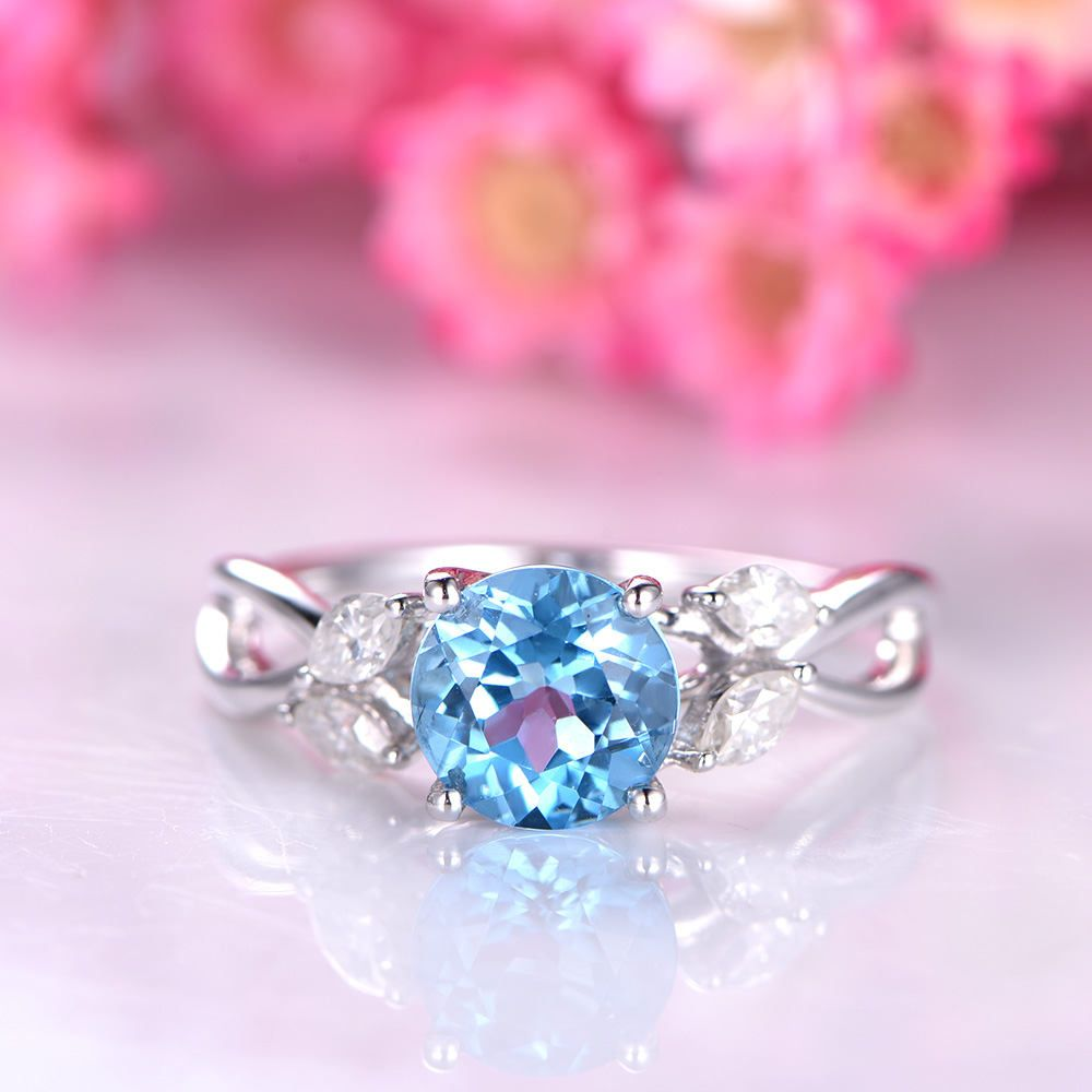 Blue topaz ring topaz engagement ring moissanite accent stone unique ...