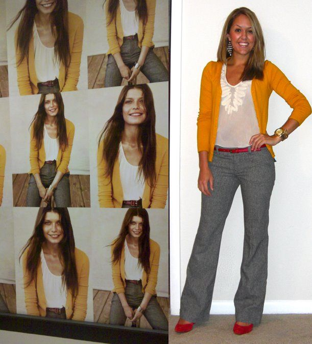Grey pants, yellow cardigan, red ballerinas | My Style Pinboard ...