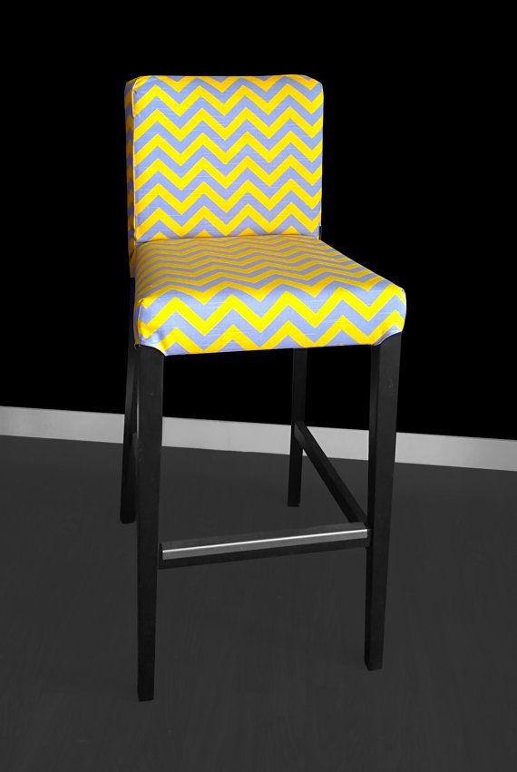 IKEA HENRIKSDAL Bar Stool Chair Cover, Grey Yellow Chevron By RockinCushions