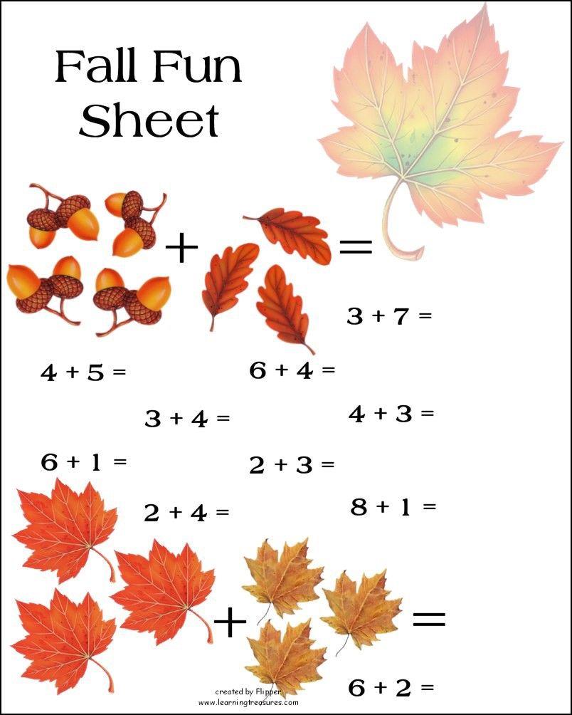 Worksheets Fall Math Worksheets preschool math worksheet fall autumn pinterest math