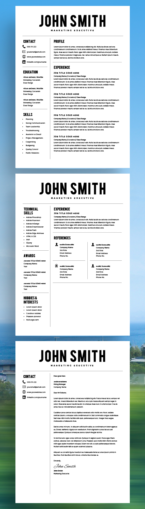 Resume Template - Resume Builder - CV Template + Cover Letter - MS ...