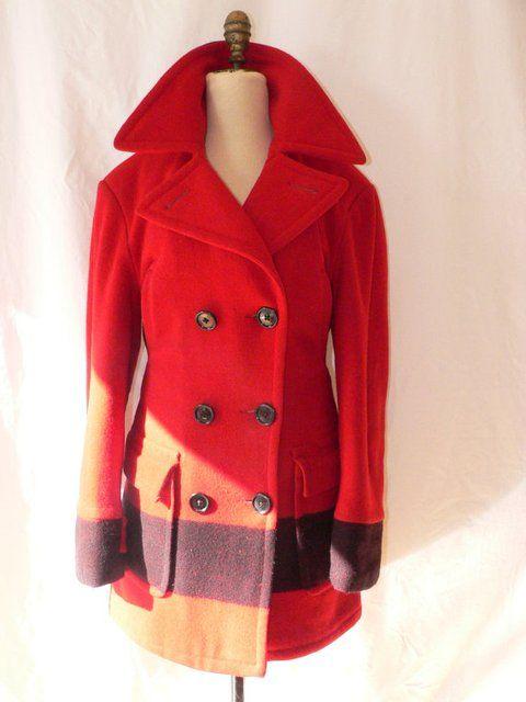 Hudsons Bay Wool Blanket Coat Via Etsy Blanket Coat