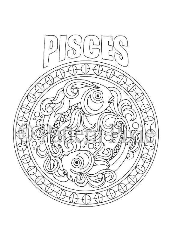 Adult Coloring Page Zodiac Pisces van PatternPixie op Etsy