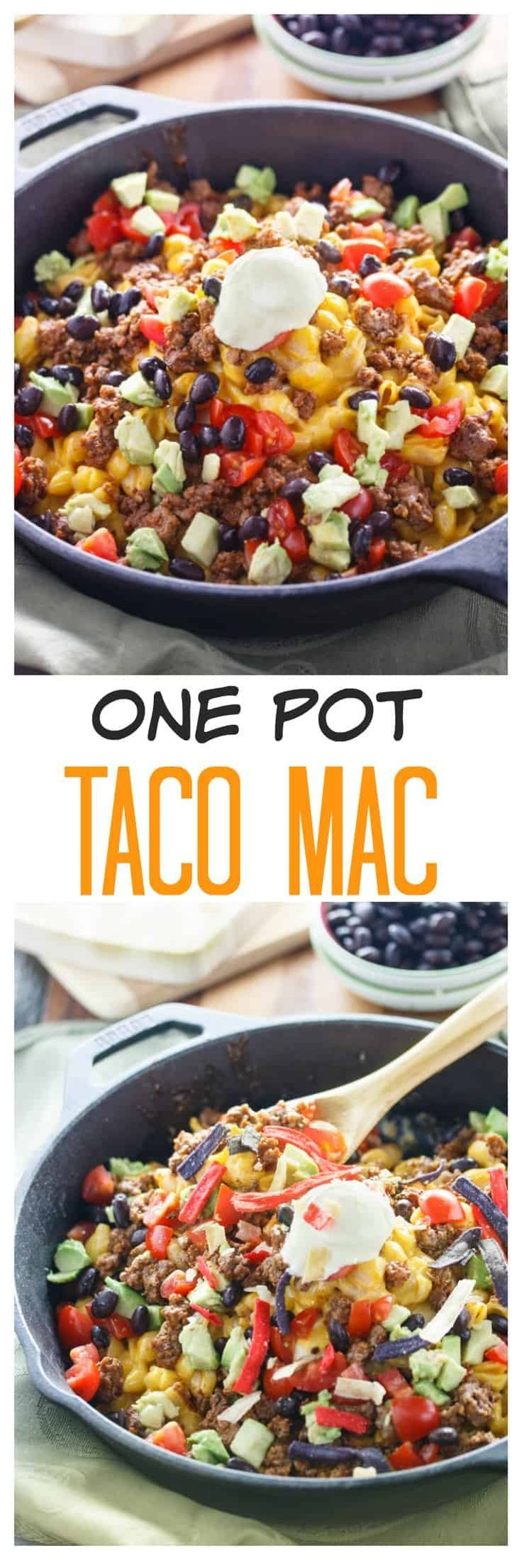 Creamy macaroni and cheese loaded with mouth watering taco fixings, prepared in a single pot and per