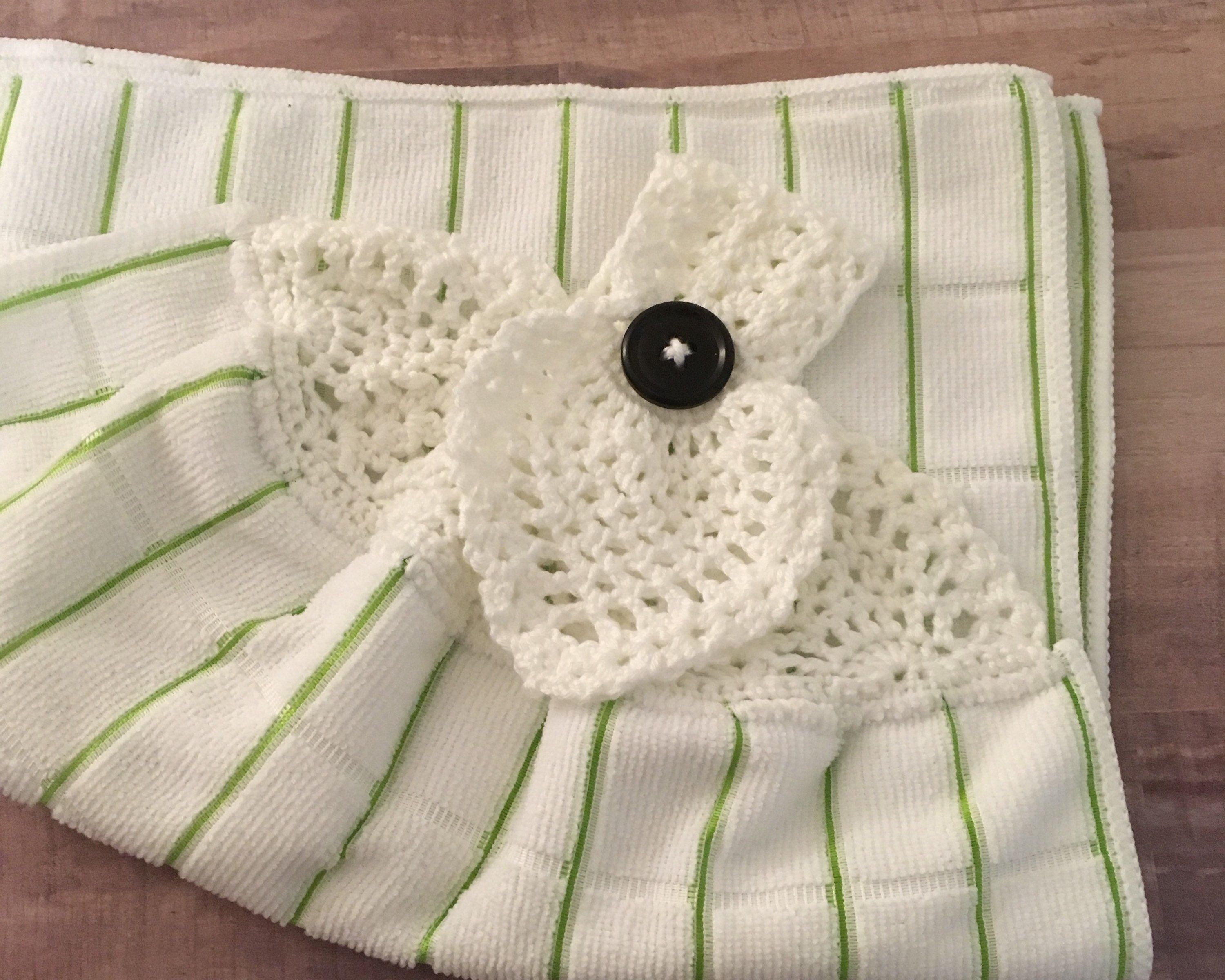2 Hanging Kitchen Dish Towels W// Crochet Tops Fall In All Things Give Thanks