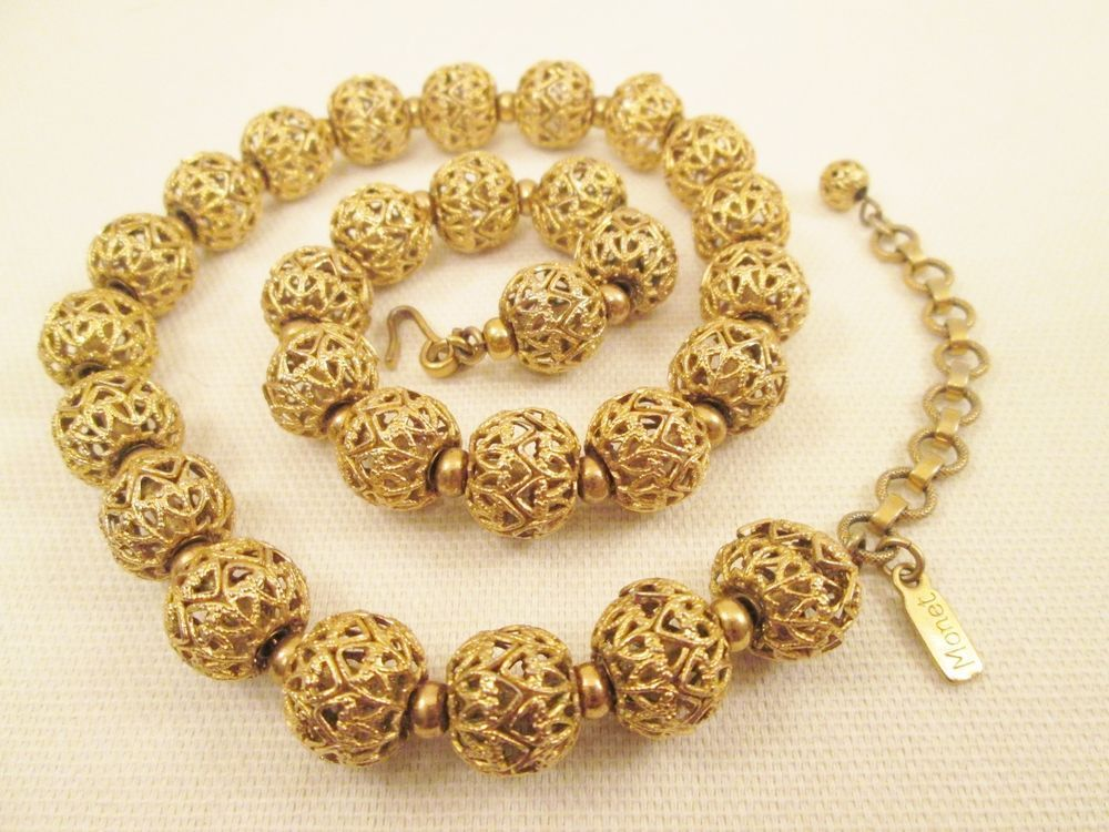 Monet Gold Filigree Ball Necklace Choker 1960s70s Designer