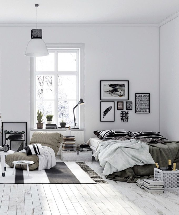 This is the true definition of black & white! This bedroom looks as if it was ta…