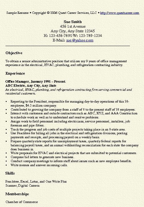 Office Manager Resume Objective Office Manager Resume Example  Sample Resume Resume Examples And