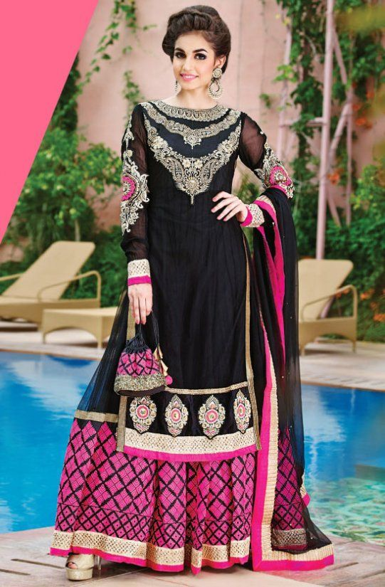 Phenomenal Black Embroidered #Anarkali #Suit - Order online @ http ...