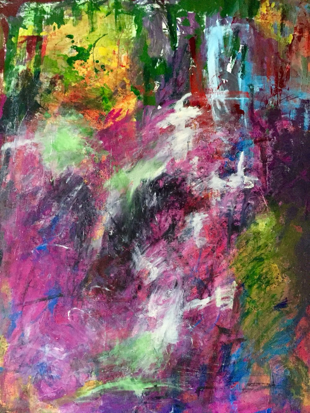 """Abstract painting by Mollie UHL Eaton. 43""""X 55"""" """"Magenta Mist..."""" Sold"""