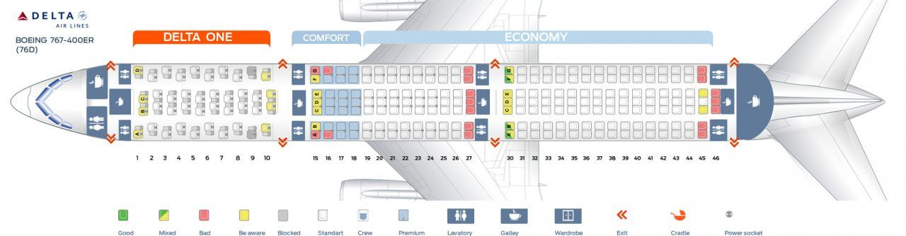 Seat Map Of The Boeing 767 400er 76d Delta Air Lines Delta Airlines Seating Charts Delta Flight