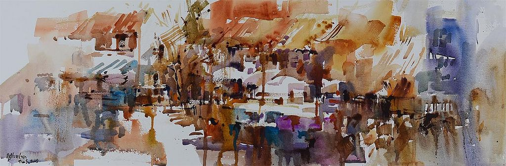 Clarke Quay Impression I, by Ng Woon Lam. watercolor on paper
