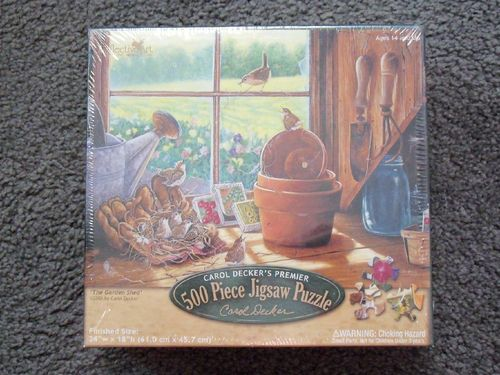 New Carol Decker 500 Pcs Puzzle The Garden Shed Reflective Art Free Shipping!