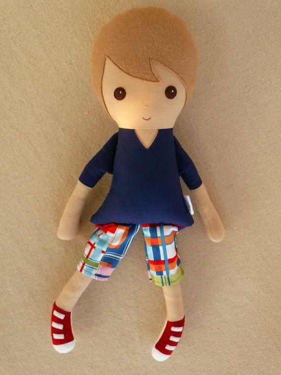 Fabric Doll Rag Doll Light Brown Haired Boy in von rovingovine, $35.00
