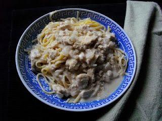 """chicken"" alfredo with linguine (add kale)"